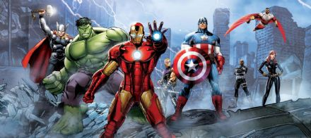Avengers panoramic mural wallpaper 202x90cm